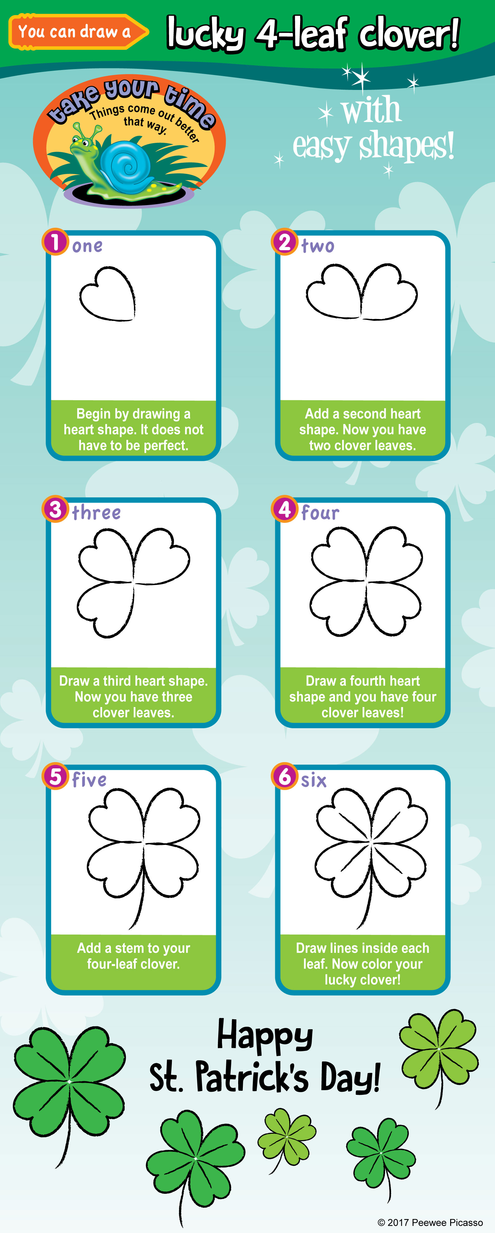 how to draw a 4 leaf clover with easy steps for children