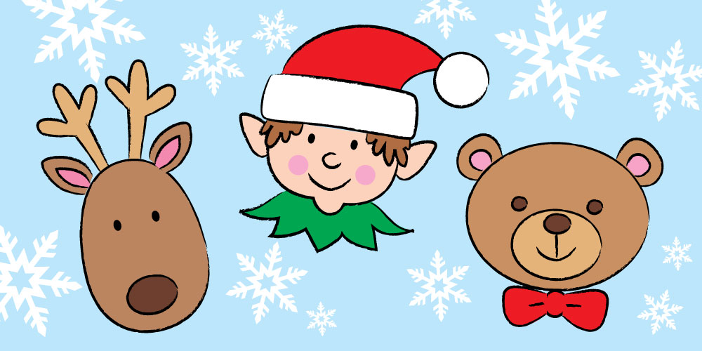 reindeer, elf, and teddy bear drawn from easy steps for children