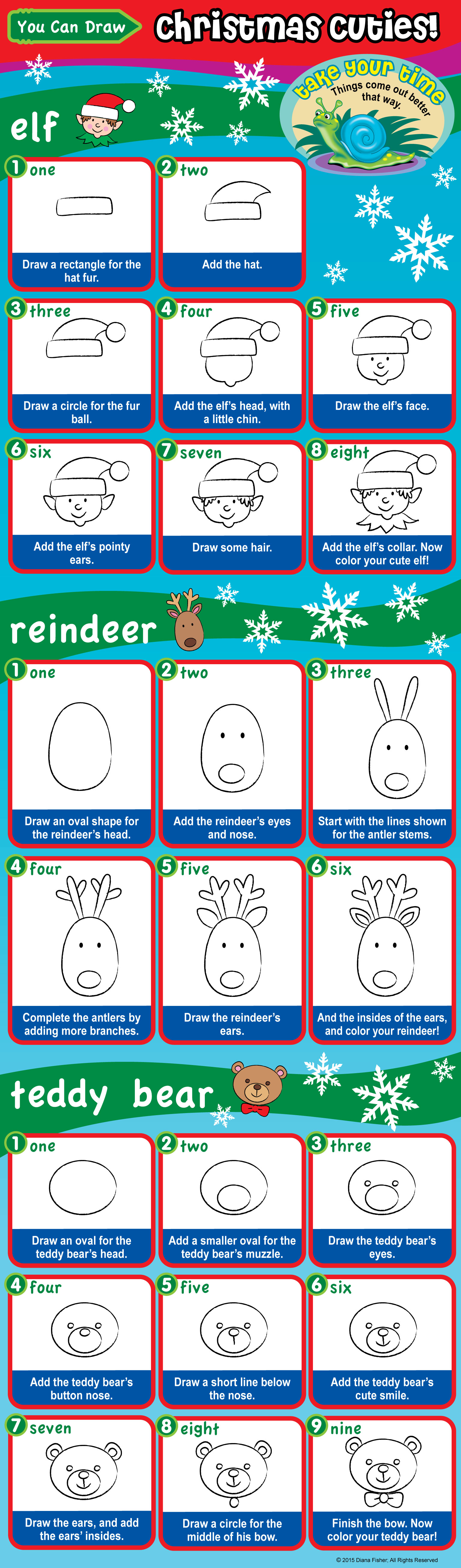 how to draw a reindeer, an elf, a teddy bear with east steps for kids