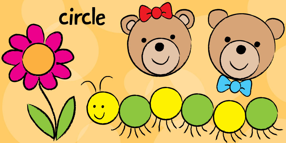 cute teddy bears caterpillar and flower drawn with circles