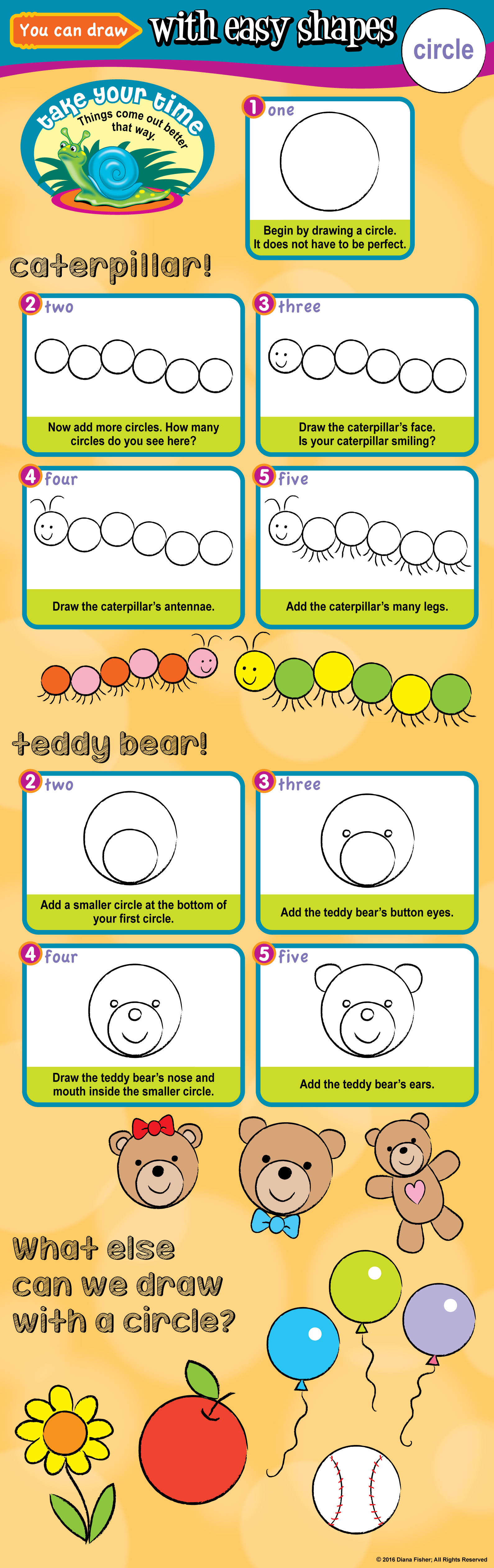 draw a teddy bear and a caterpillar with circles