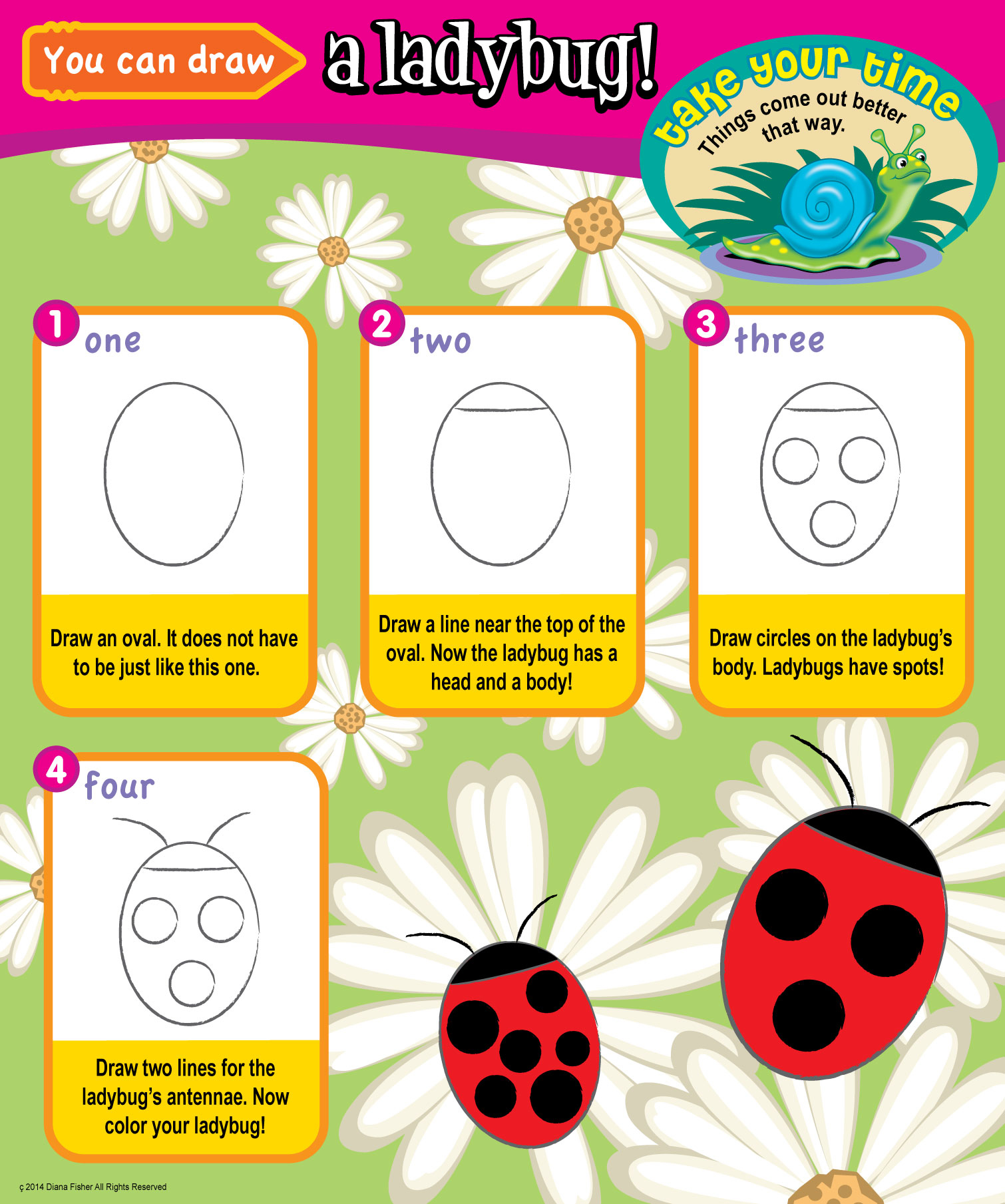 step by step instructions for how to draw a ladybug for kids