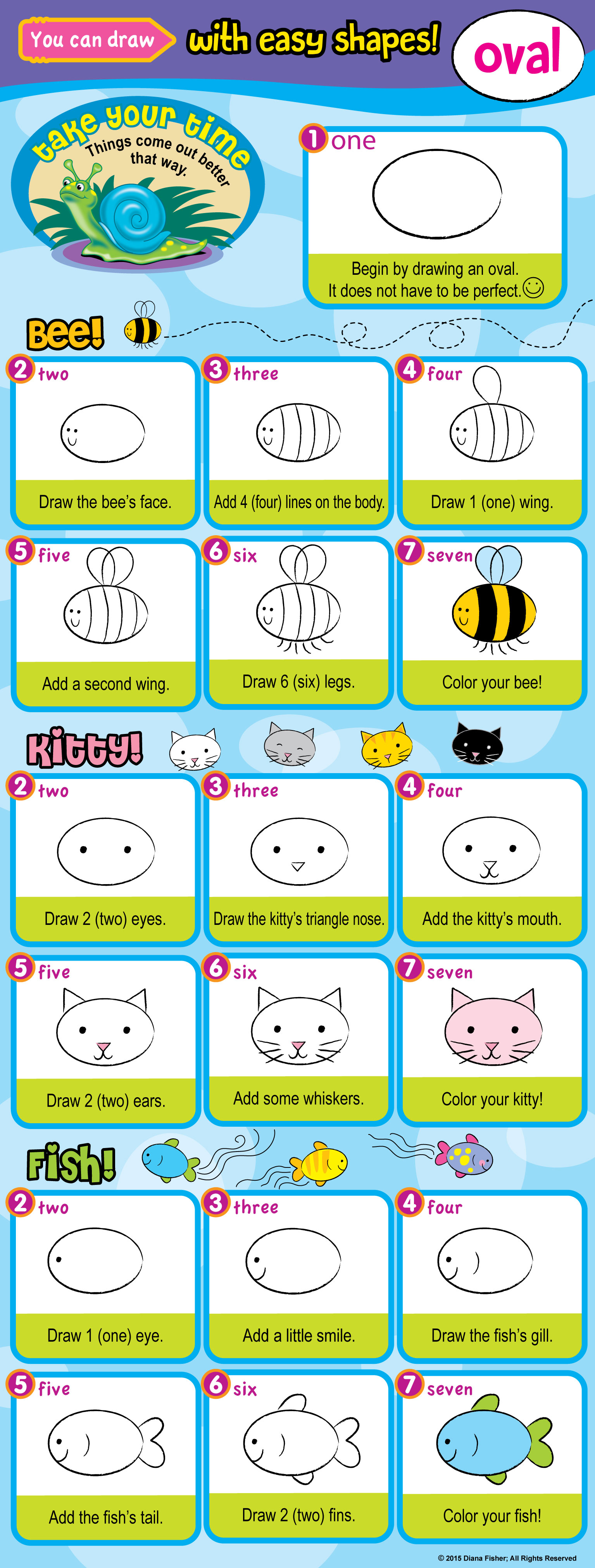 steps to draw a kitty, fish, and bee with an oval for children