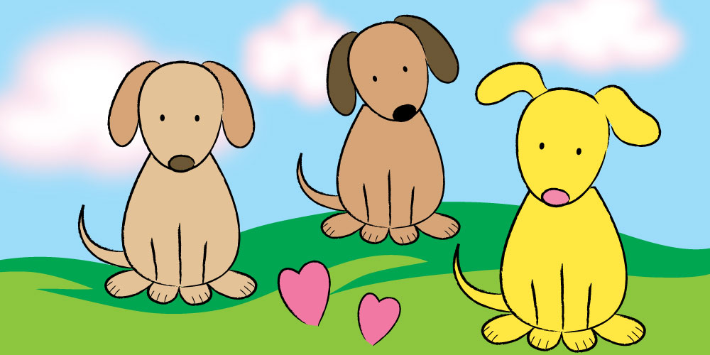 cute puppies drawn from instructions for kids