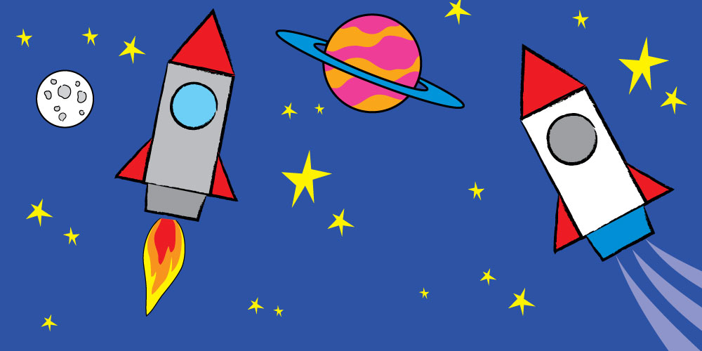 cartoon space rockets in outer space with moon and planet