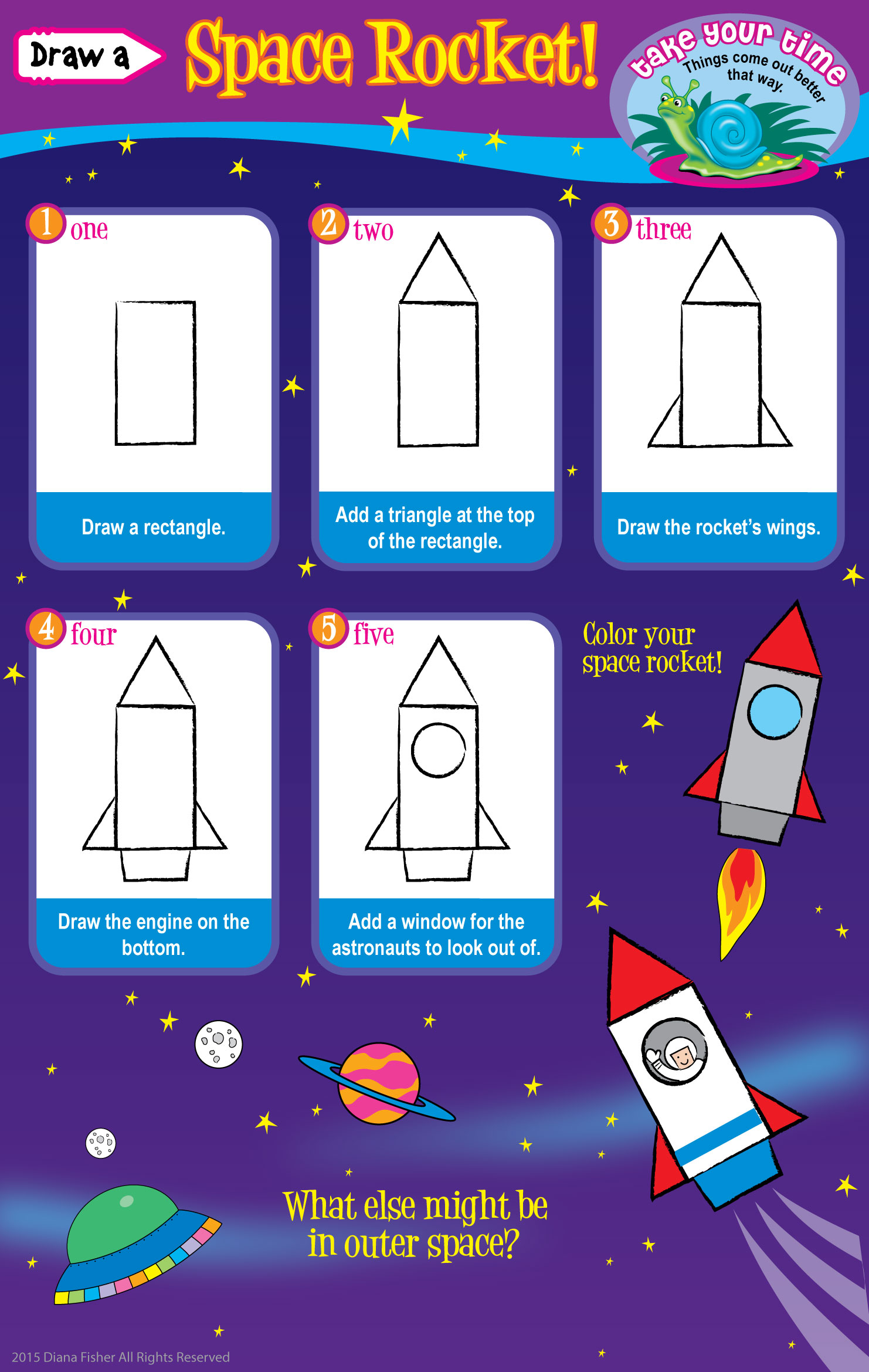 step instructions to draw a space rocket for children