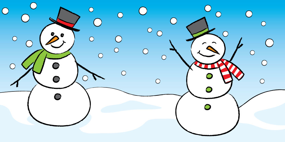 cute snowman with snowflakes and blue sky cartoon
