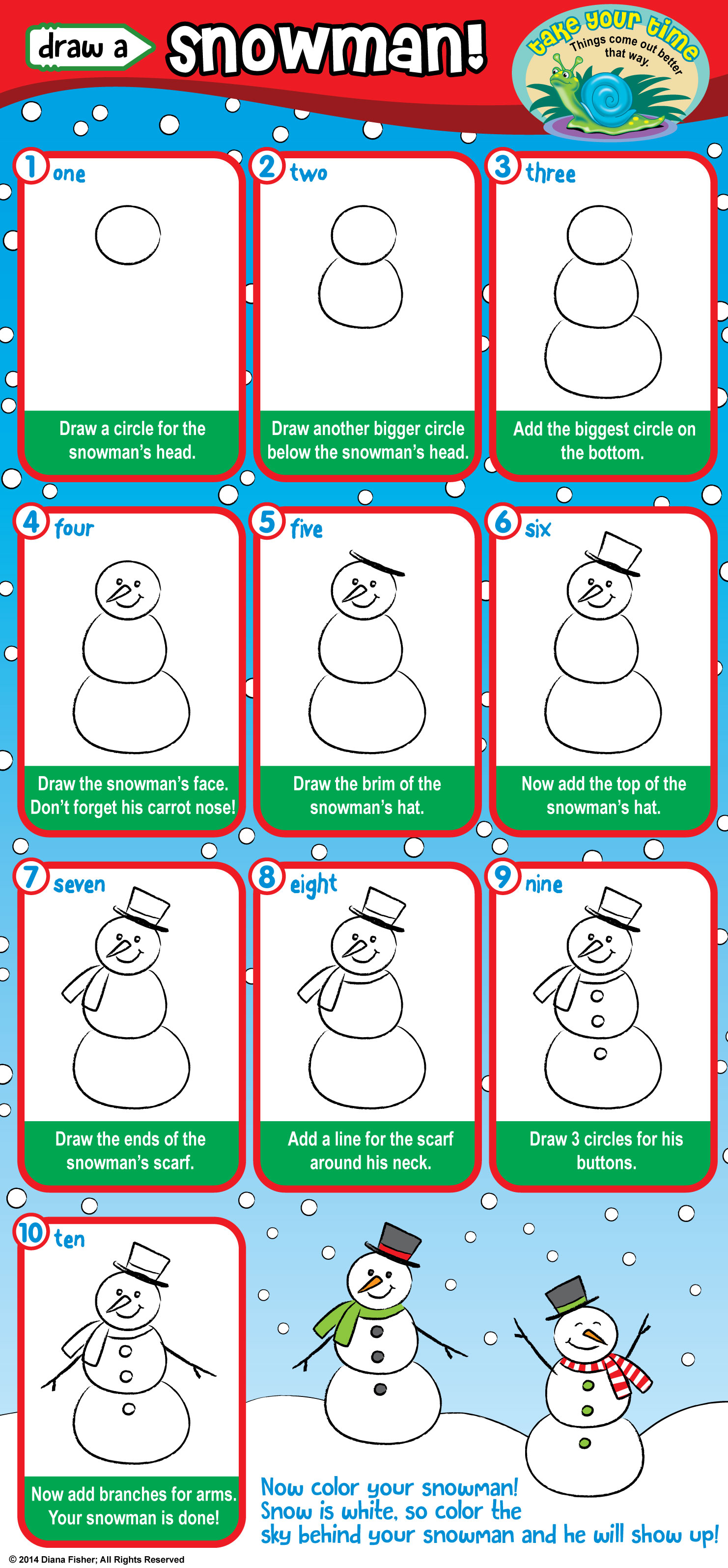 step instructions for how to draw a snowman