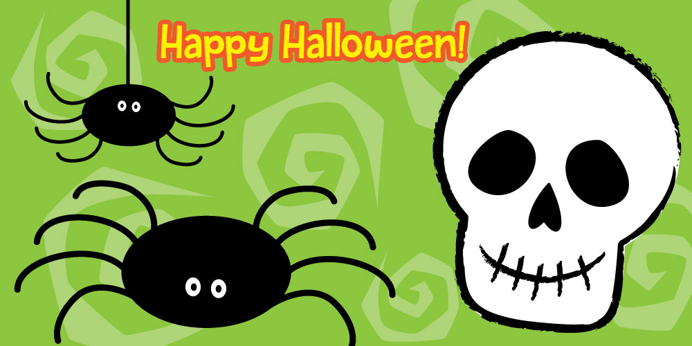 cute spider and skull drawn from easy steps