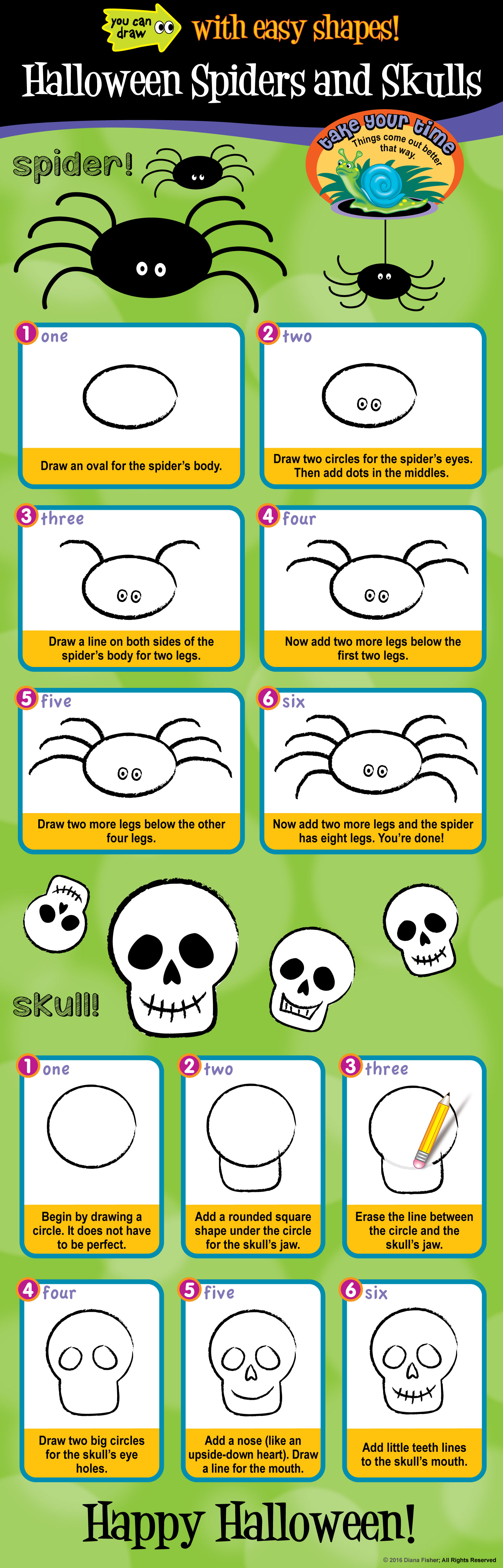 how to draw a spider and skull with easy steps for children