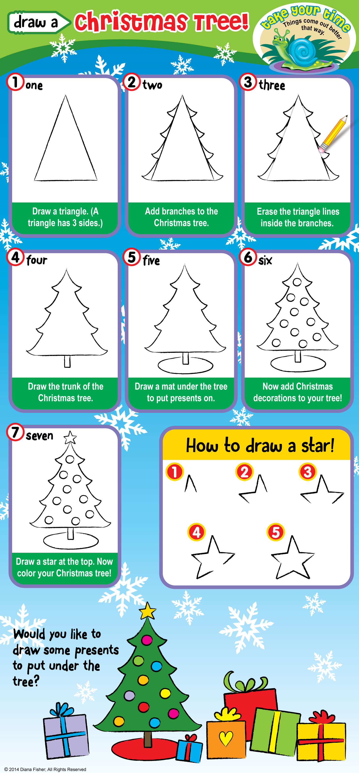 steps to draw a Christmas tree and stars