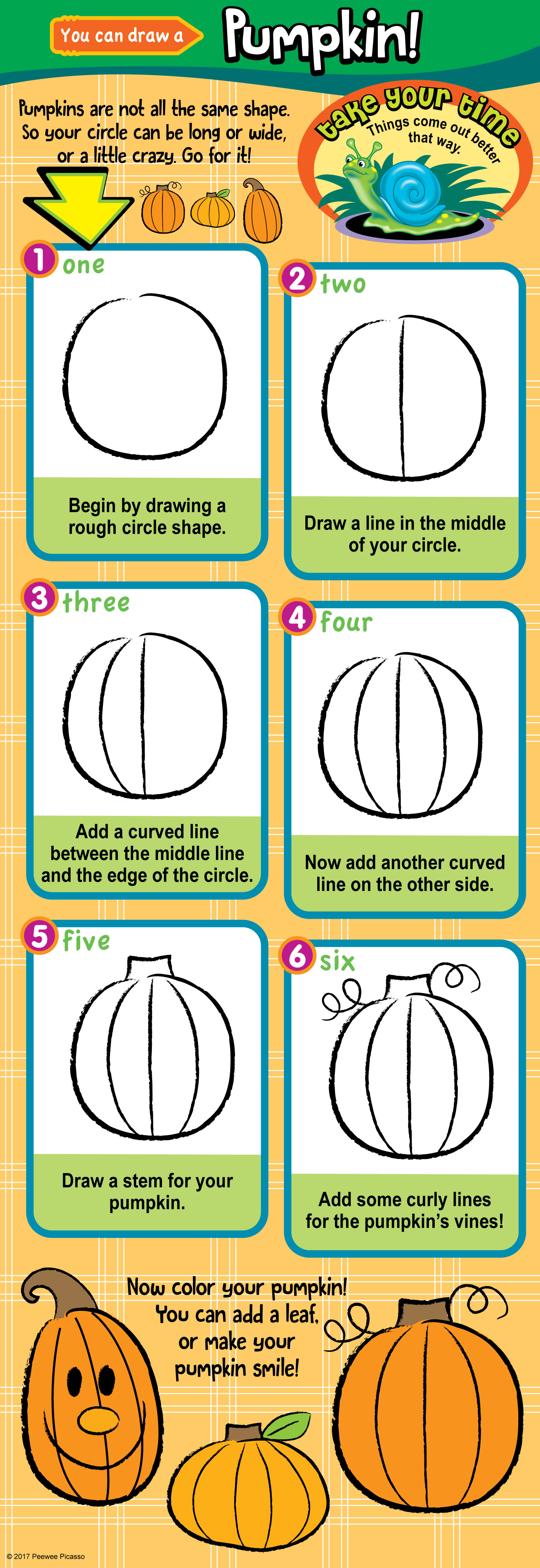 step by step instructions to draw a pumpkin for children