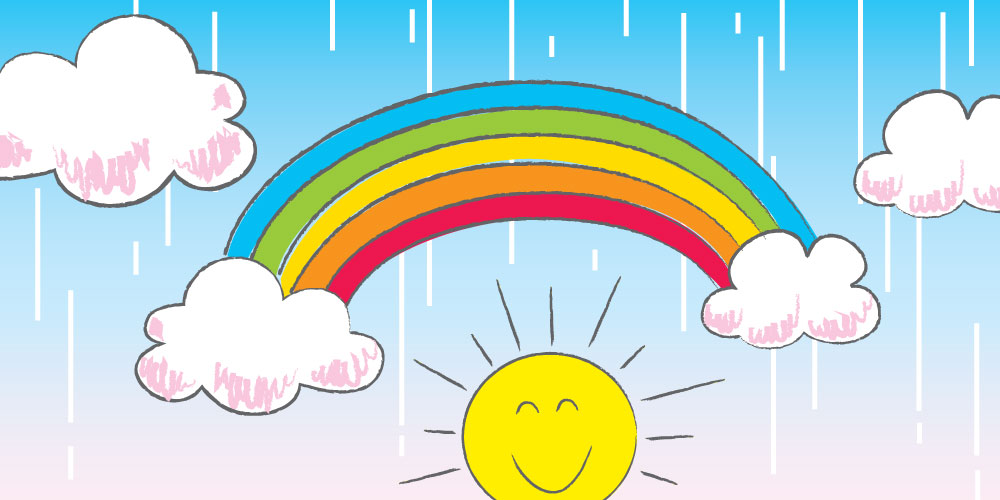 cute rainbow and sun drawn with steps for children