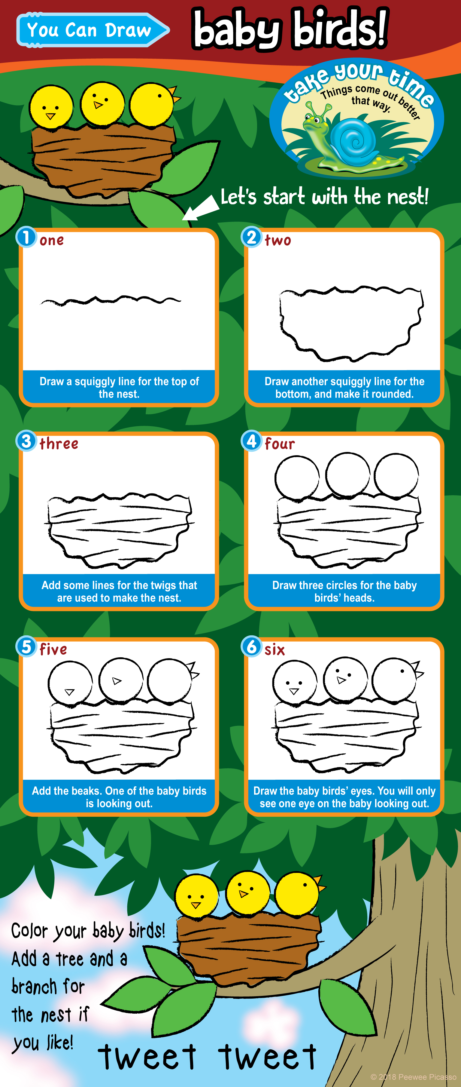 step by step easy how to draw baby bird