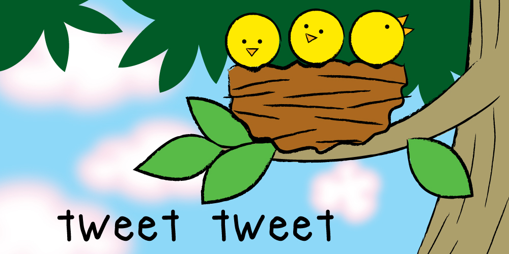 Draw baby birds in a nest! Tweet tweet!