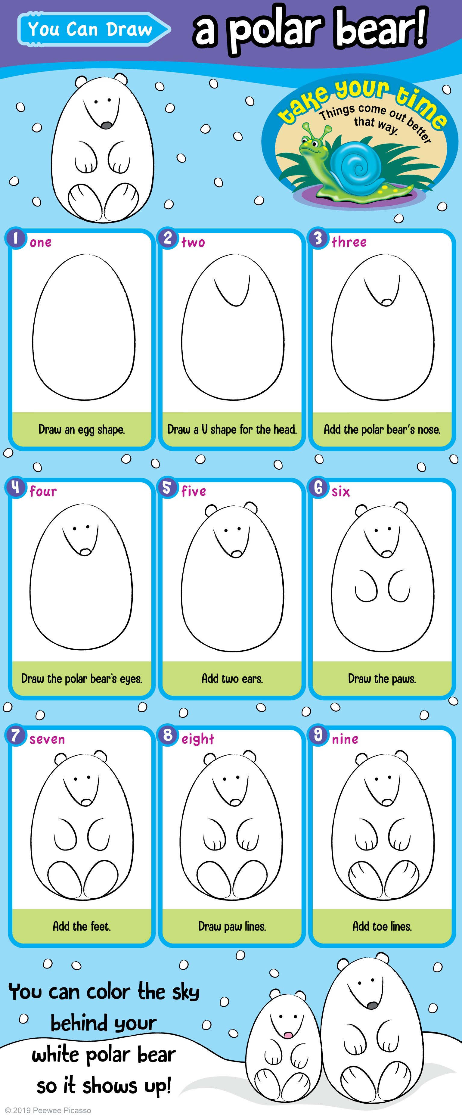 easy steps to draw a cute polar bear