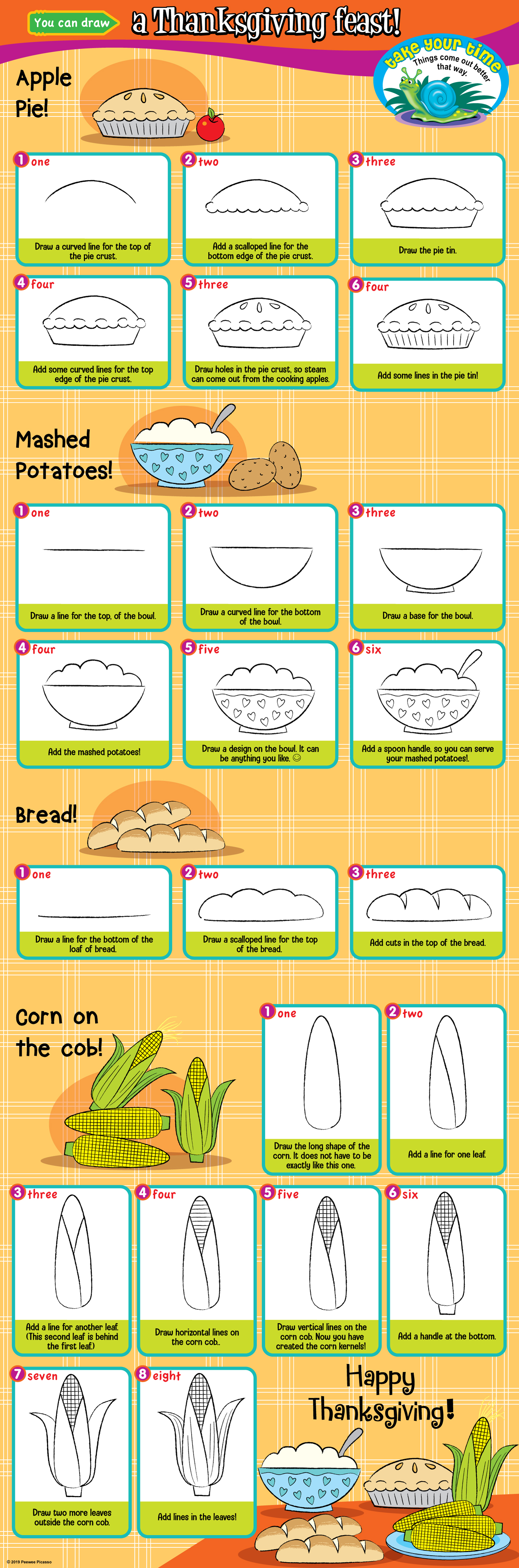 easy steps to draw Thanksgiving feast for children