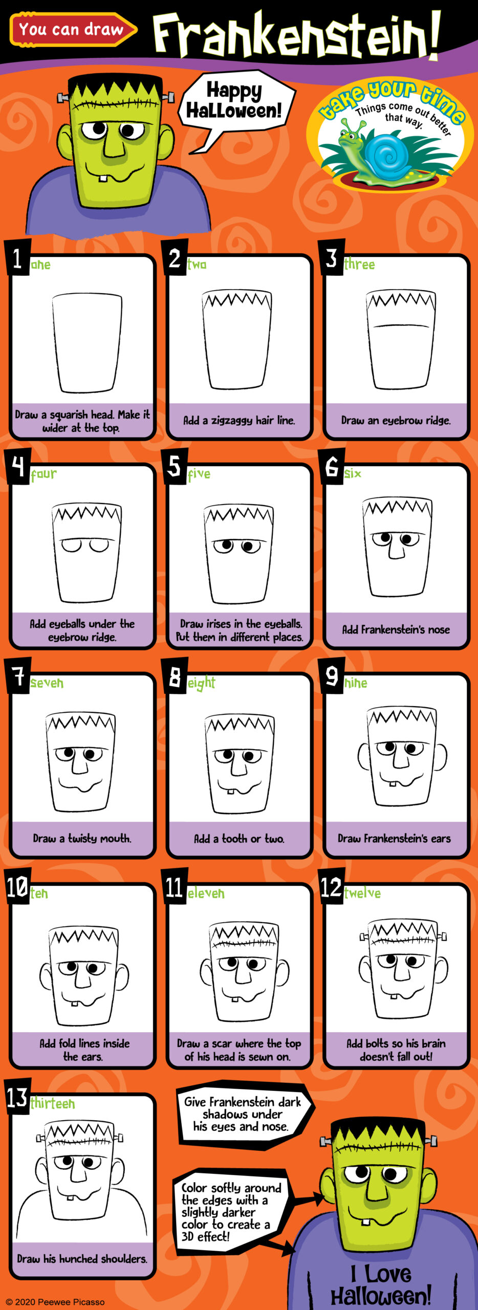 step-by-step how to draw a cute and friendly Frankenstein monster for kids