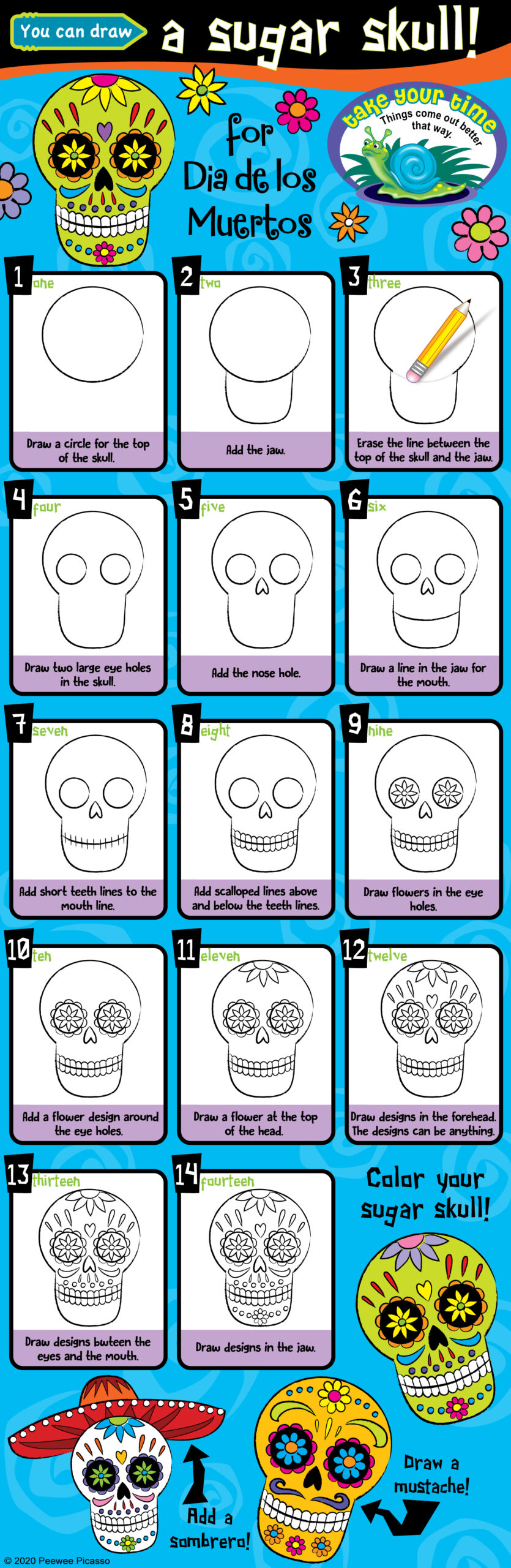easy steps to draw a sugar skull for kids