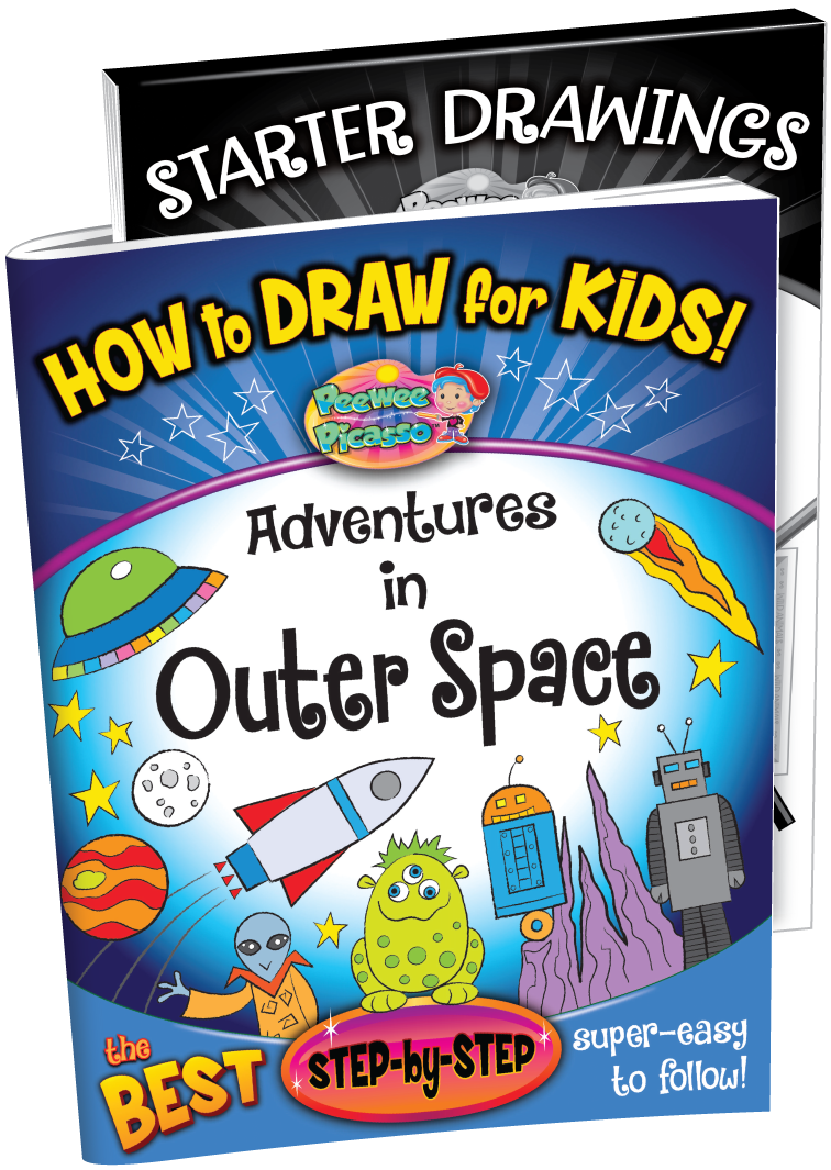 how to draw outer space robots aliens children